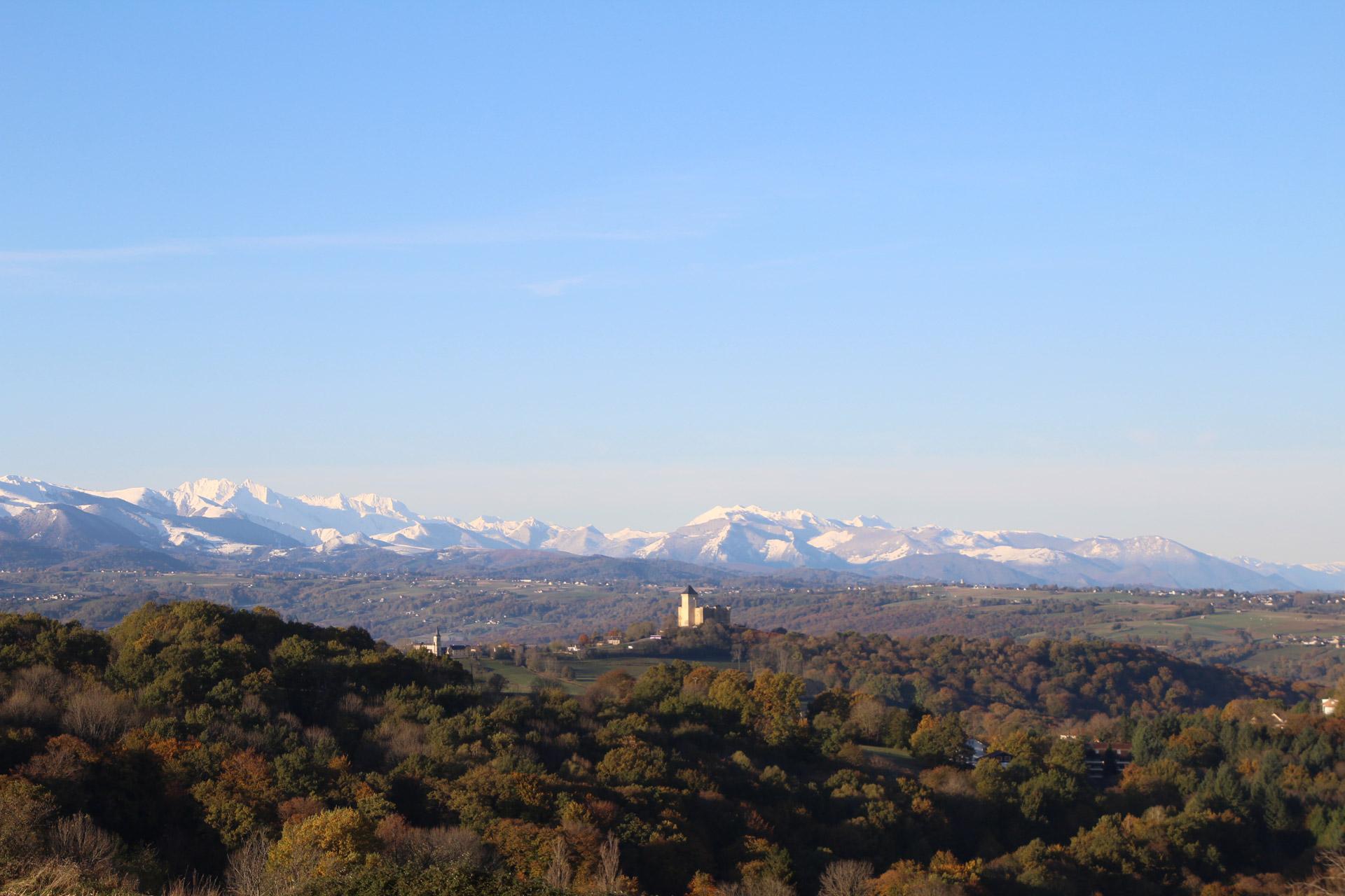 Vue sur les Pyrénées enneigées